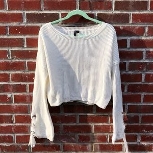 Off-white cropped bell sleeve sweater